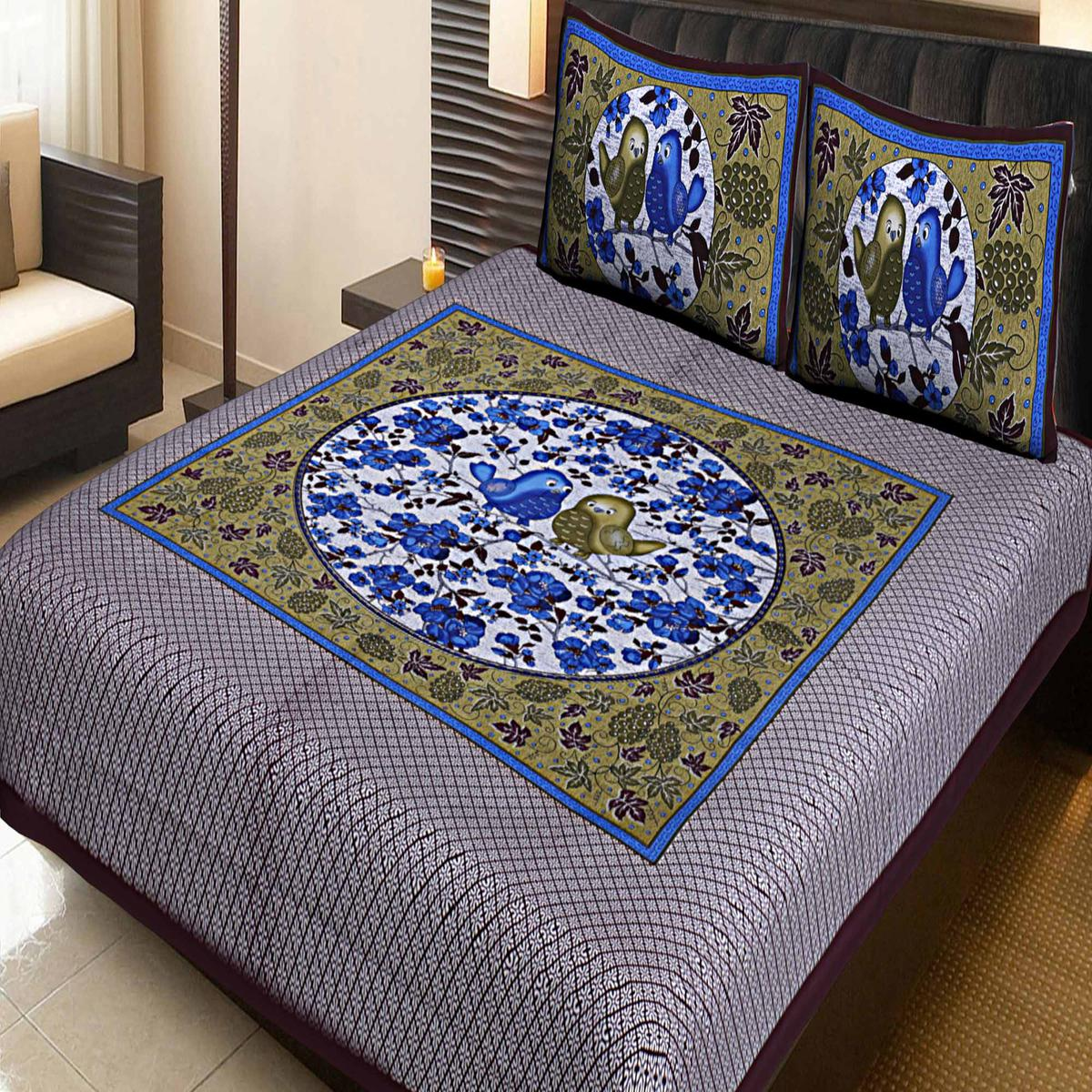 AJ Home - Brown Traditional Jaipuri 100% Cotton Double Bedsheet with 2 Pillow Covers
