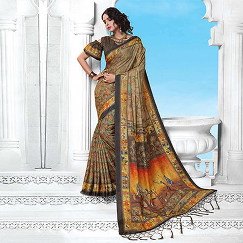 Beige Casual Wear Printed Manipuri Silk Saree