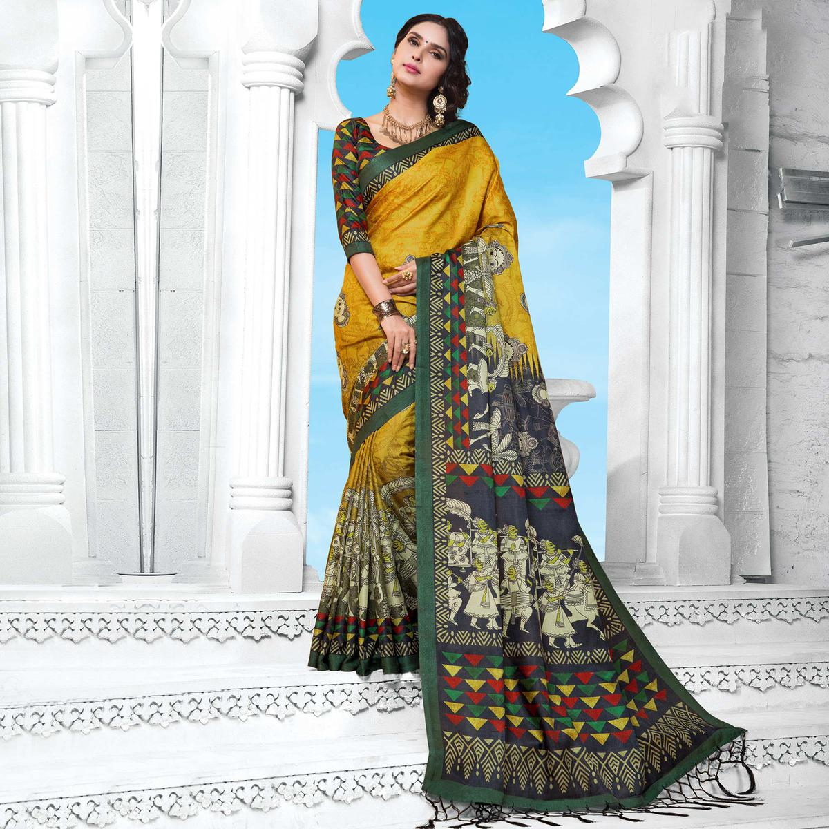 Mustard Yellow Casual Wear Printed Manipuri Silk Saree