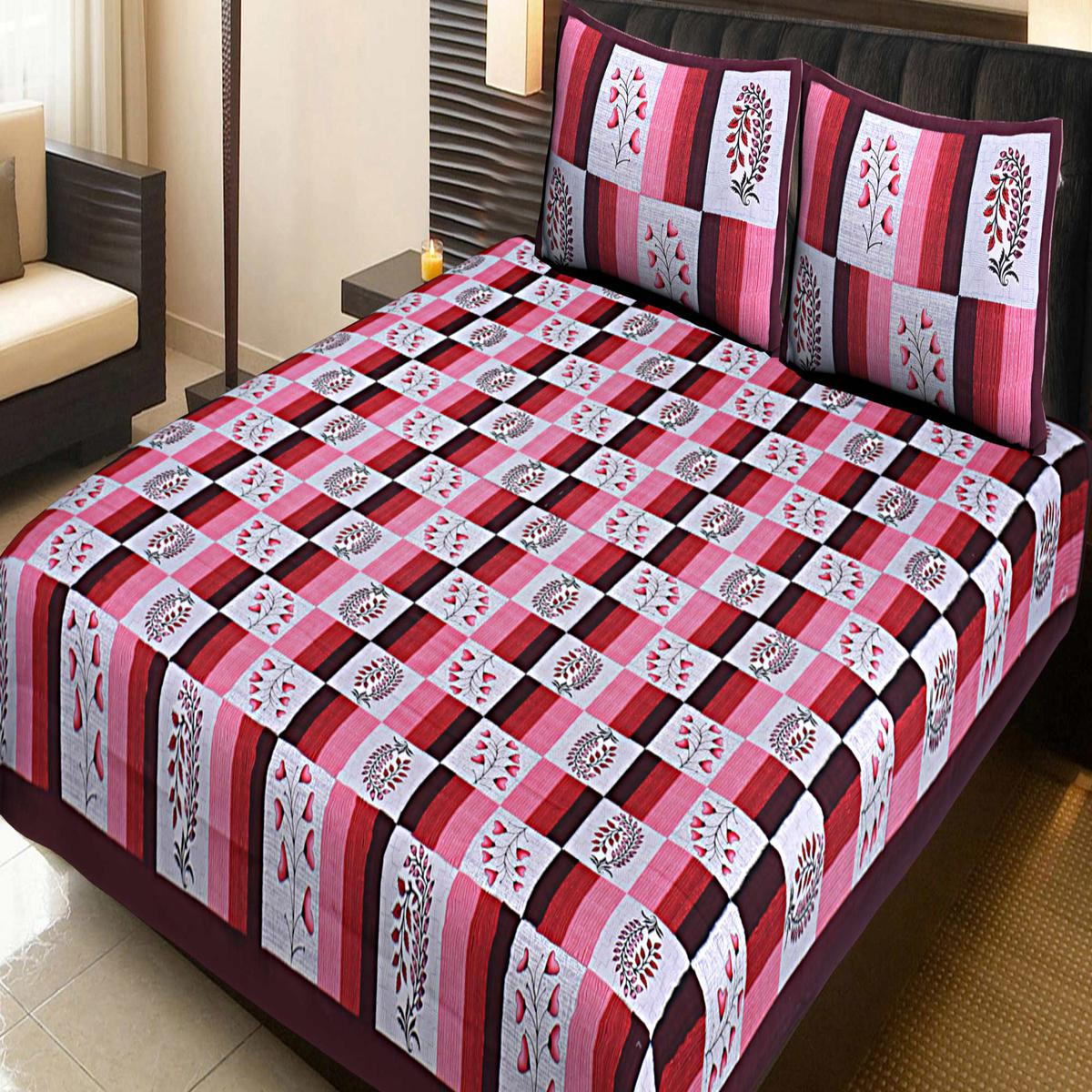 AJ Home - Maroon Traditional Jaipuri 100% Cotton Double Bedsheet with 2 Pillow Covers