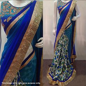 Shaded Blue Party Wear Saree
