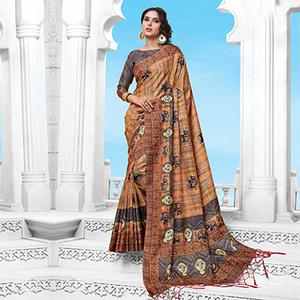 Peach Casual Wear Printed Manipuri Silk Saree