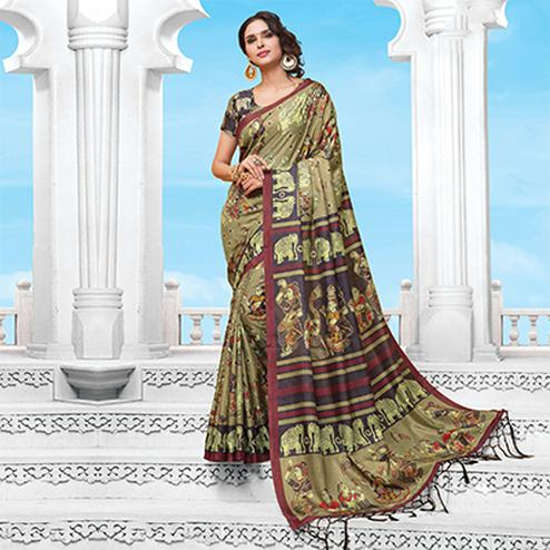 Dark Beige Casual Wear Printed Manipuri Silk Saree