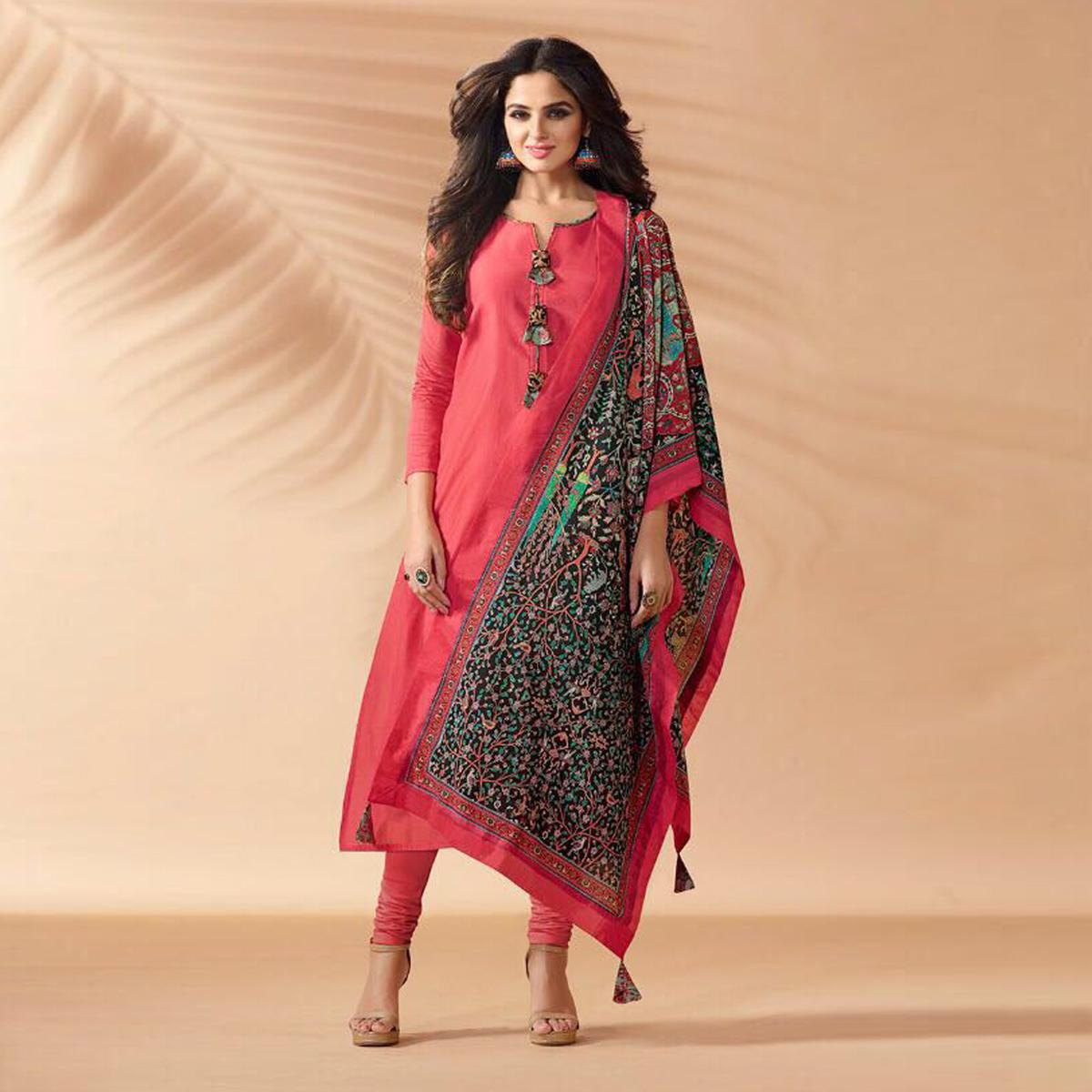 Light Red Designer Hand Worked Cotton Silk Salwar Suit