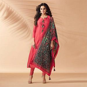 Pink Designer Hand Worked Cotton Silk Salwar Suit