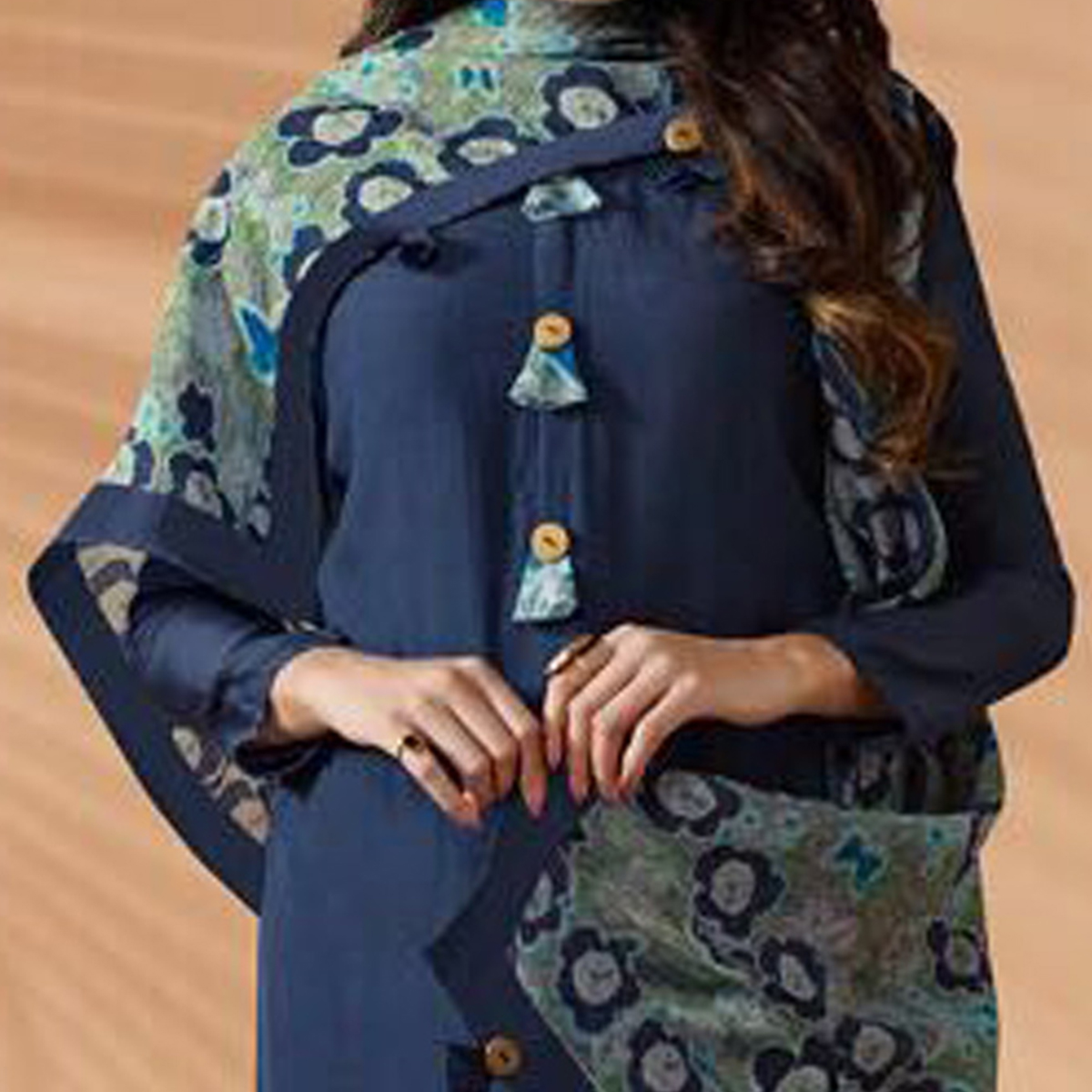 Navy Blue Designer Hand Worked Cotton Silk Salwar Suit