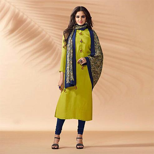 Parrot Green Designer Hand Worked Cotton Silk Salwar Suit