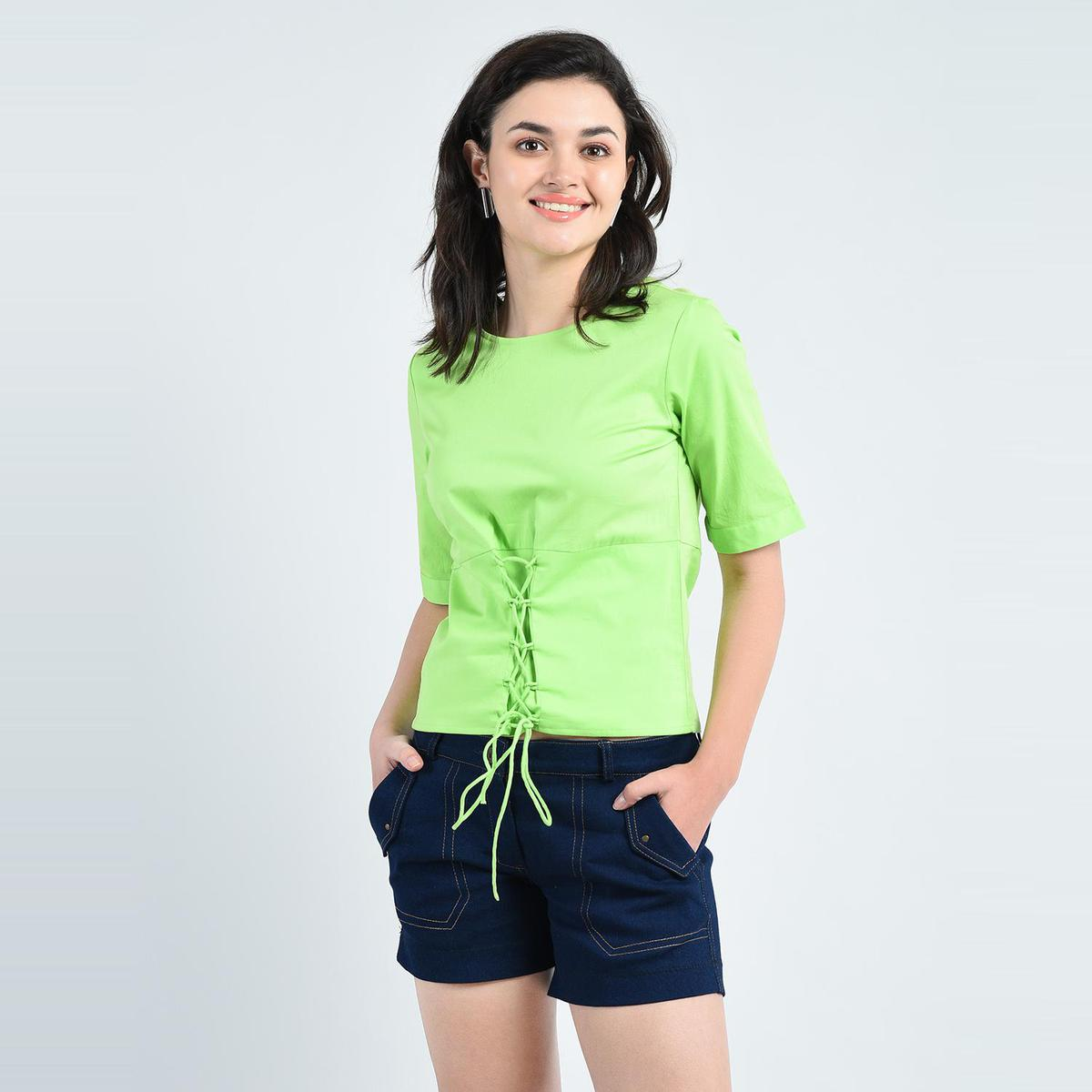 Green Casual Wear Round Neck Cotton Top