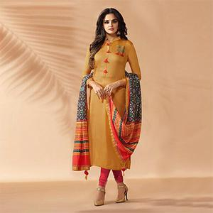 Yellow Designer Hand Worked Cotton Silk Salwar Suit
