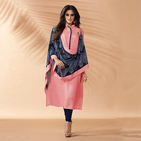 Light Pink Designer Hand Worked Cotton Silk Salwar Suit