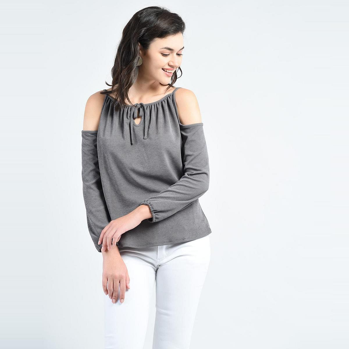 Grey Casual Wear Boat Neck Polyester Top