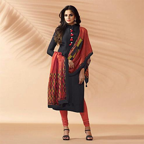 Black Designer Hand Worked Cotton Silk Salwar Suit