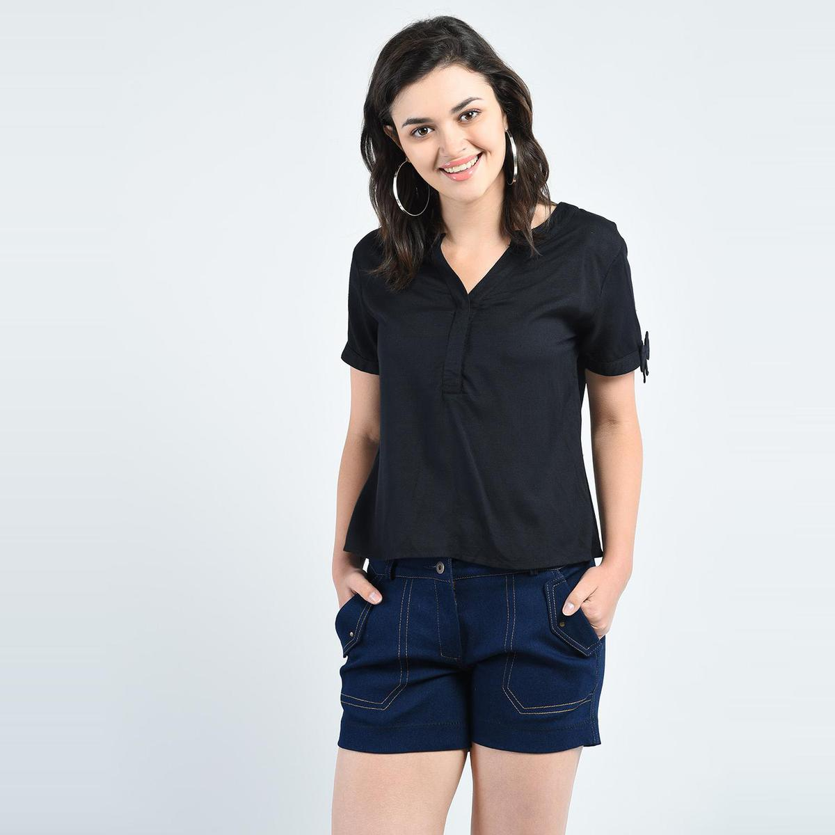 Black Casual Wear V Neck rayon Top