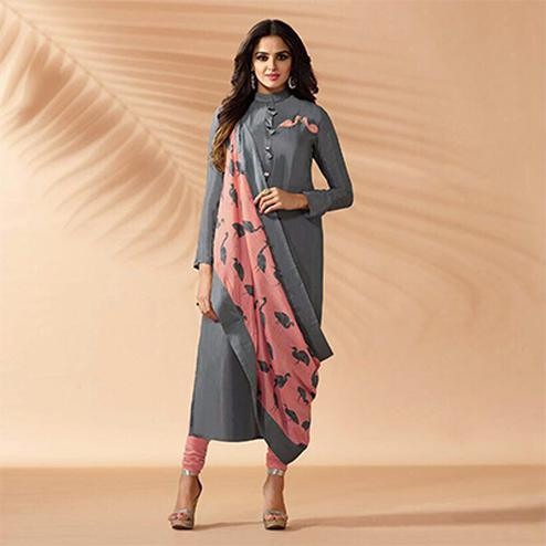 Gray Designer Hand Worked Cotton Silk Salwar Suit