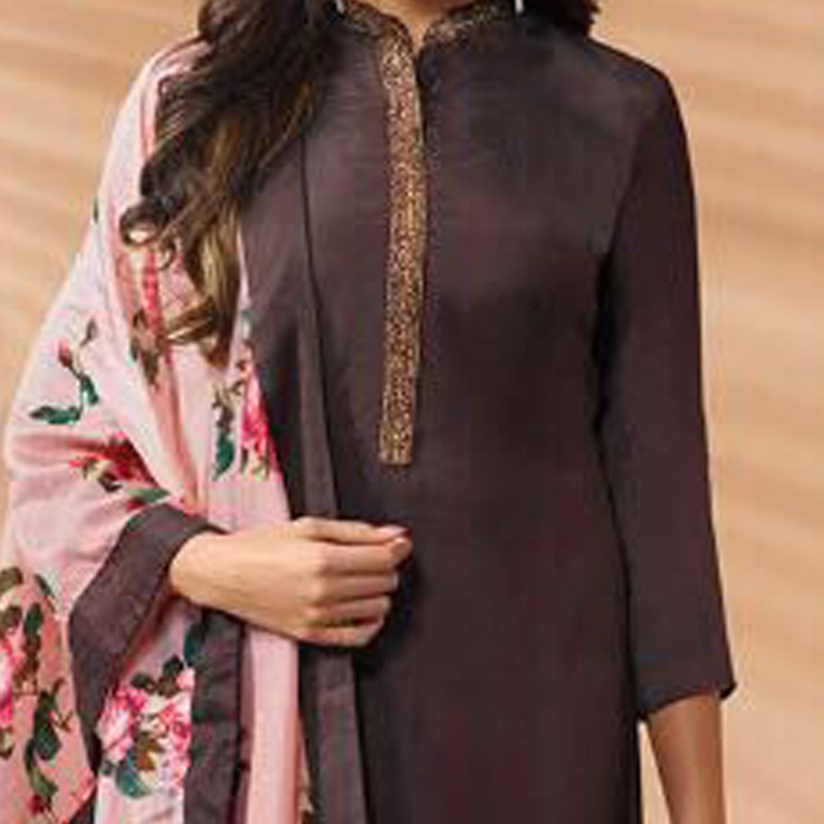 Brown Designer Hand Worked Cotton Silk Salwar Suit