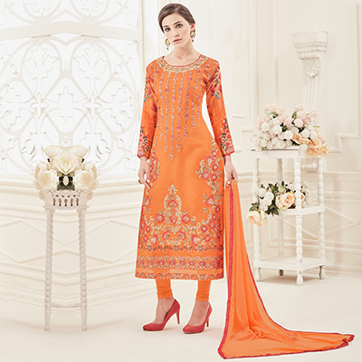 Attractive Orange Colored Partywear Embroidered Pure Cotton Suit