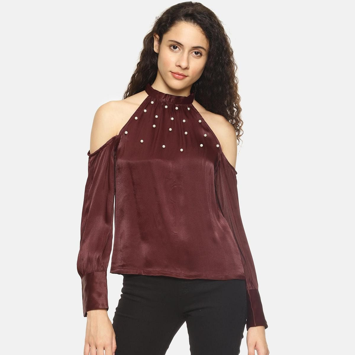 Maroon Casual Wear Off Shoulder Polyester Top