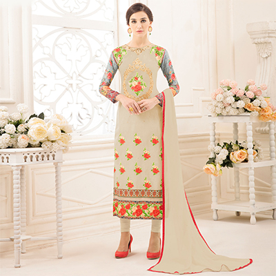Vibrant Beige Colored Partywear Embroidered Pure Cotton Suit