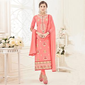 Alluring Pink Colored Partywear Embroidered Pure Cotton Suit