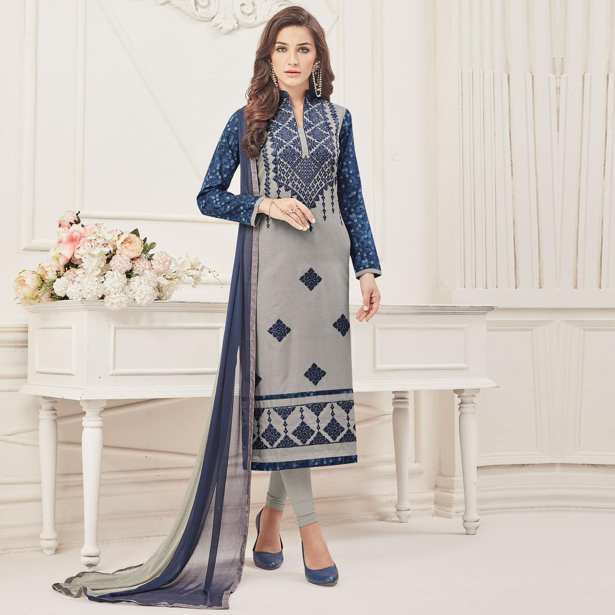 Precious Grey Colored Partywear Embroidered Pure Cotton Suit