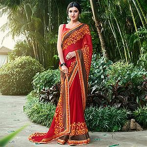 Groovy Maroon Colored Casual Floral Printed Chiffon Brasso Saree