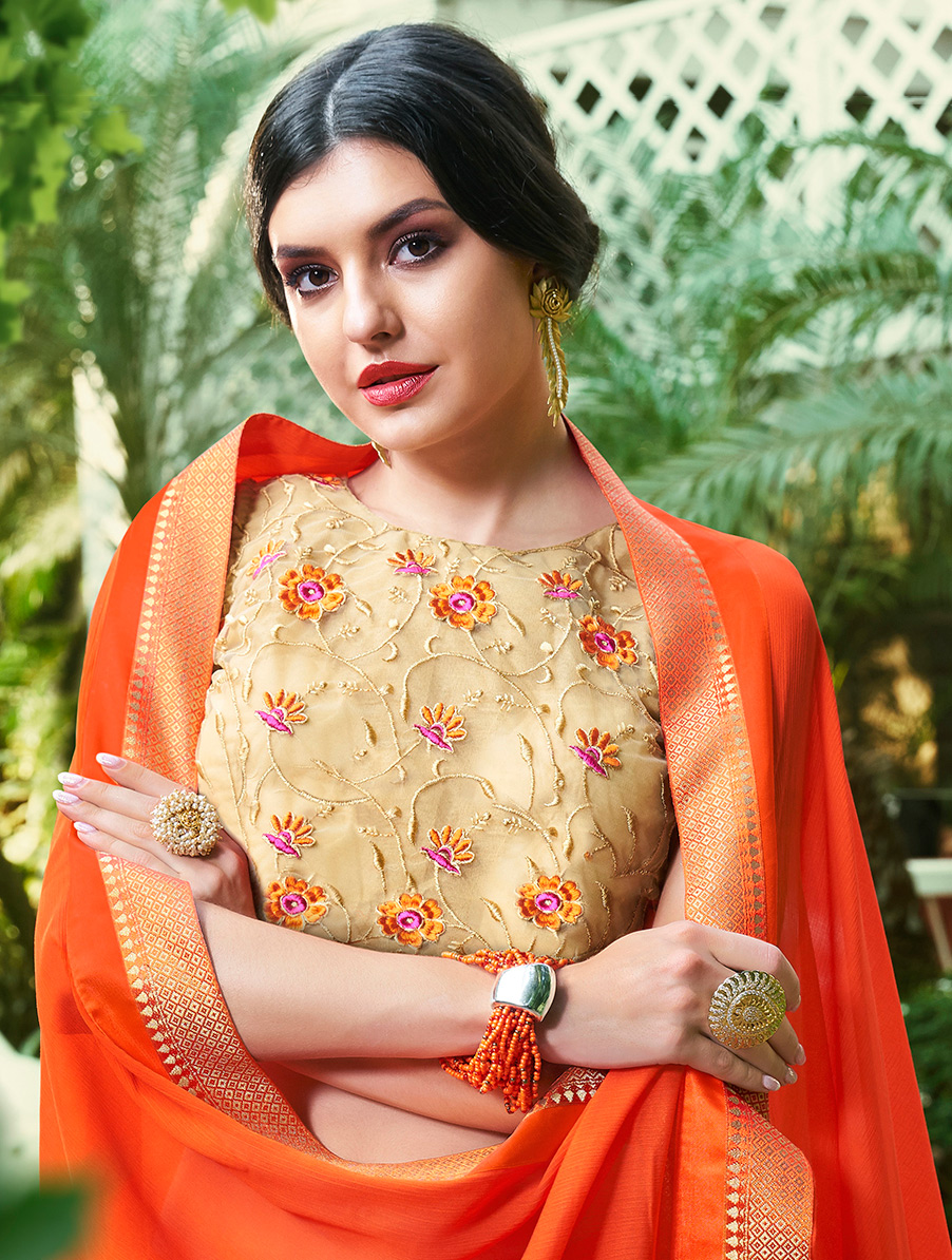 Bold Orange Colored Partywear Chiffon Saree