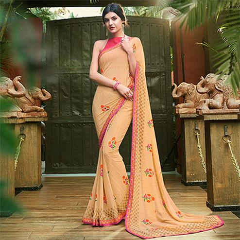 Elegant Cream Colored Casual Floral Printed Georgette Saree