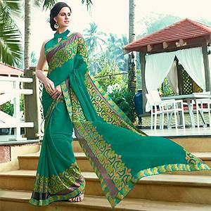 Dazzling Aqua Green Colored Casual Floral Printed Chiffon Brasso Saree