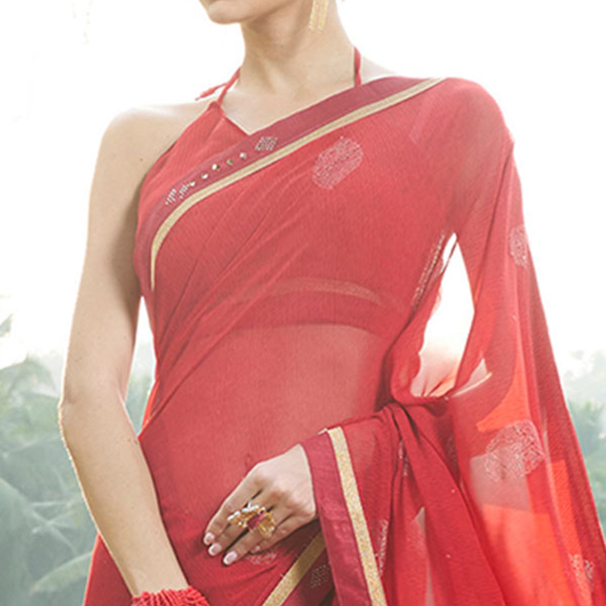 Mesmerising Red Colored Casual Printed Georgette Saree