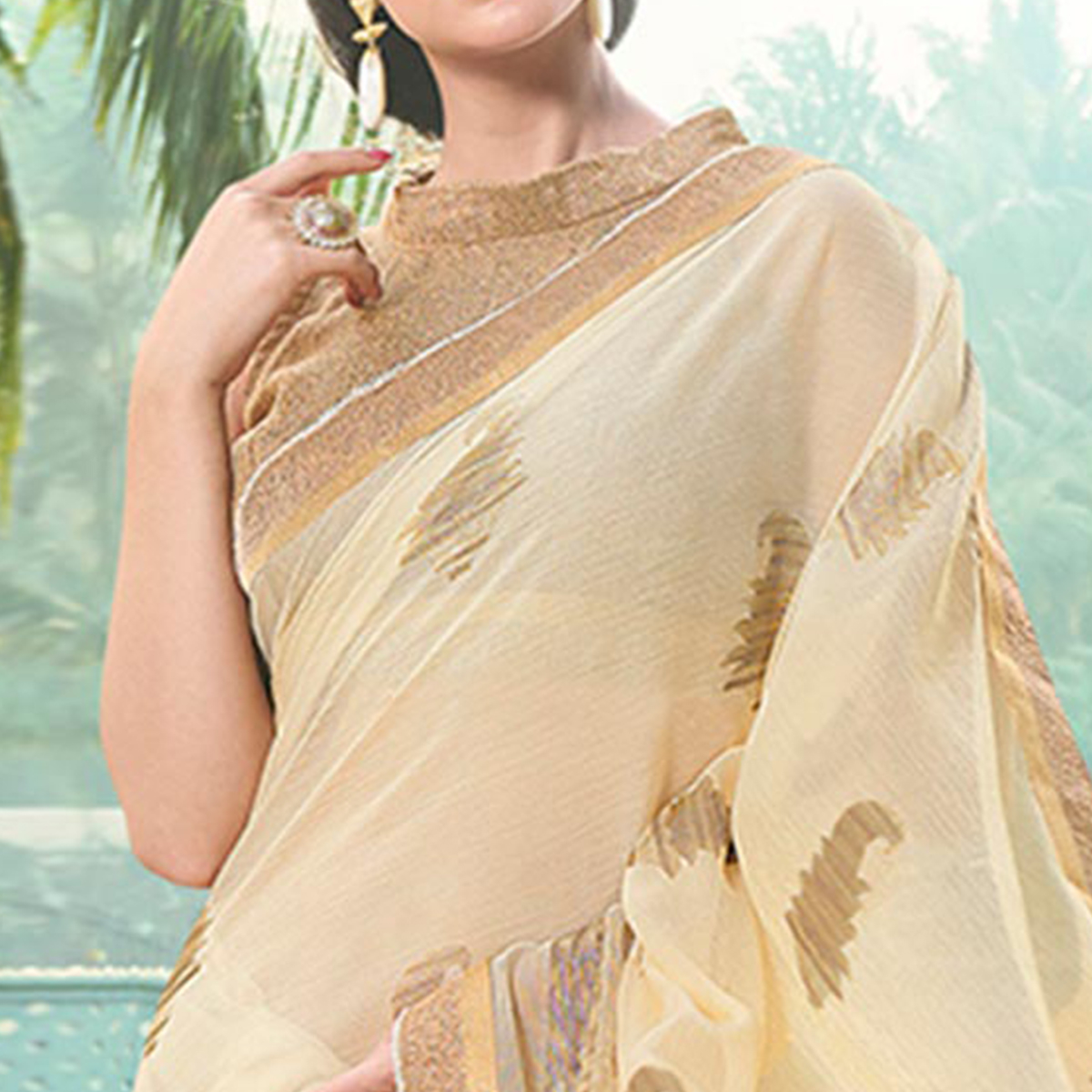 Dazzling Gold Colored Casual Printed Chiffon Saree