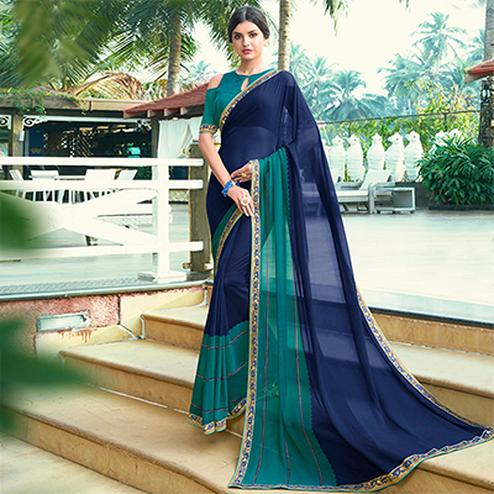 Majestic Navy Blue-Turquoise Green Colored Casual Printed Georgette Saree