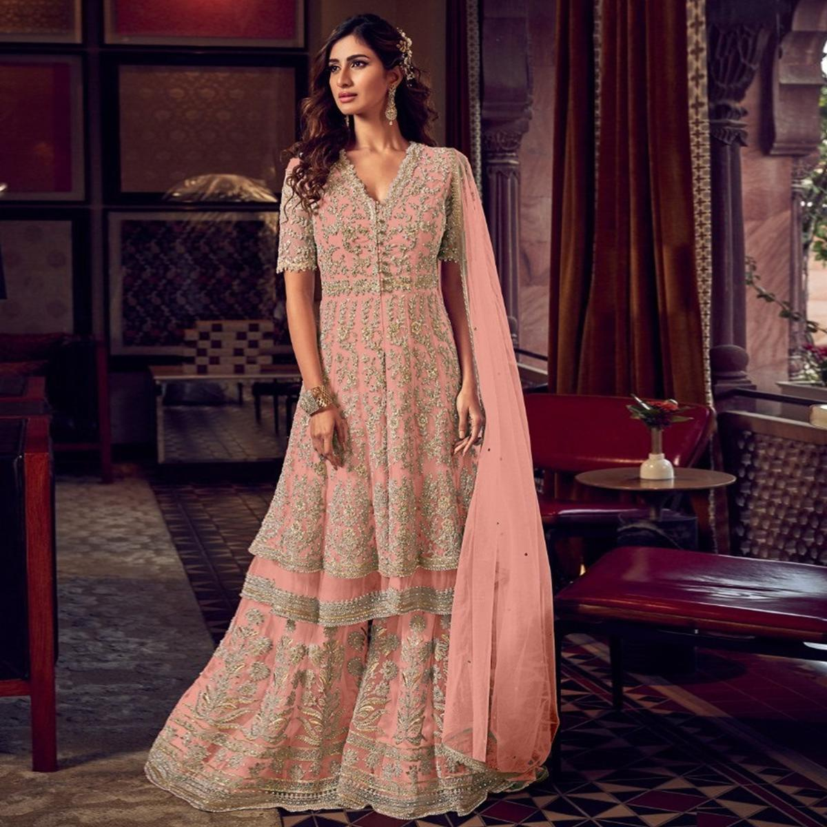 Baby Pink Embroidered Indo Western Style Net - Georgette Sharara Suit