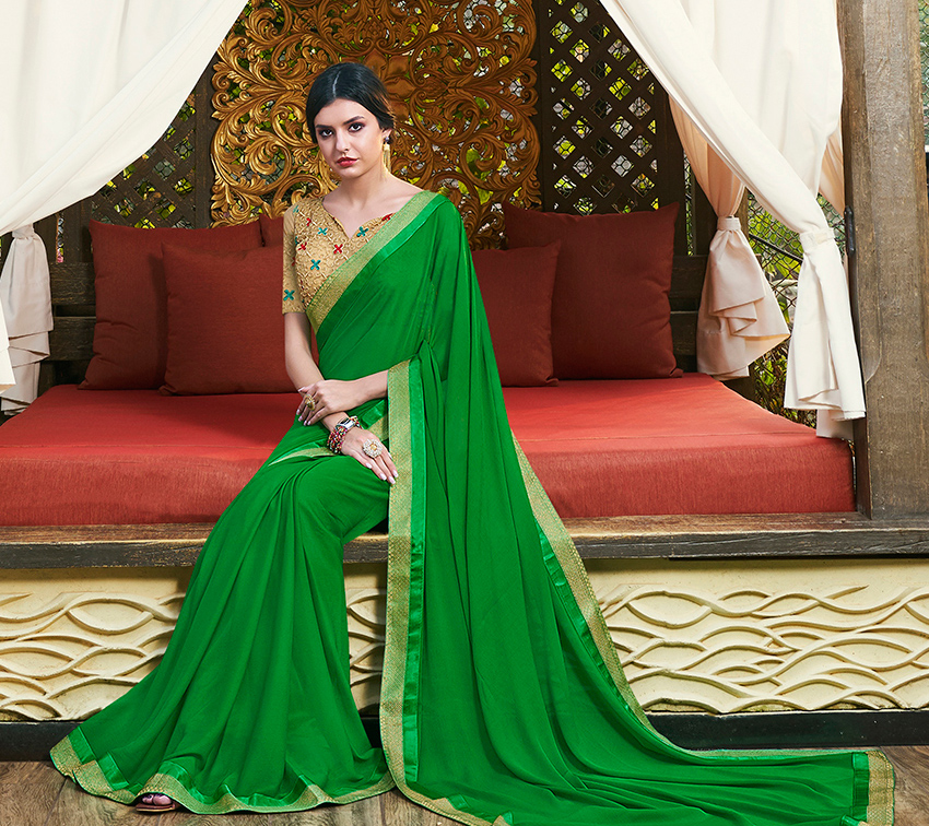 Trendy Green Colored Partywear Chiffon Saree