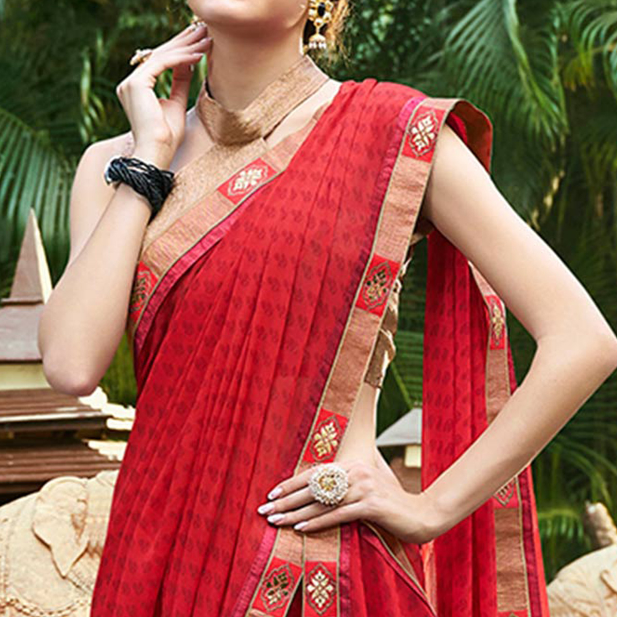 Surpassing Maroon Colored Casual Printed Georgette Saree