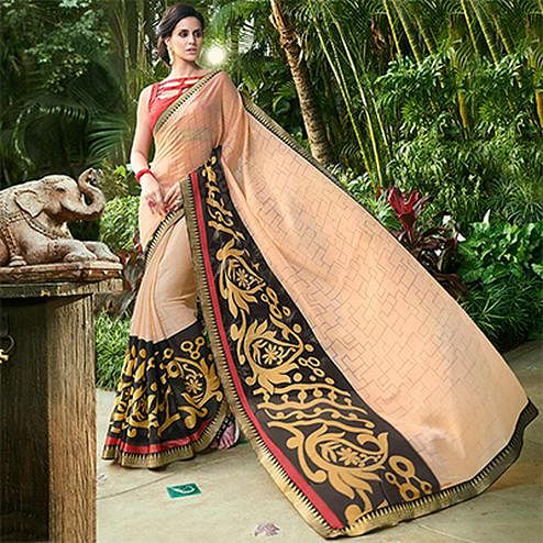 Desirable Cream Colored Casual Printed Chiffon Brasso Saree