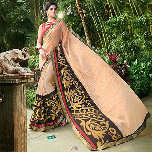 Desirable Cream Colored Casual Printed Chiffon Saree