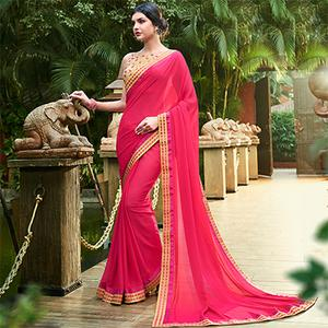 Lovely Pink Colored Partywear Chiffon Saree