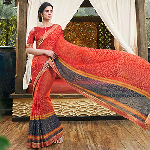 Mystic Orange Colored Casual Printed Chiffon Brasso Saree