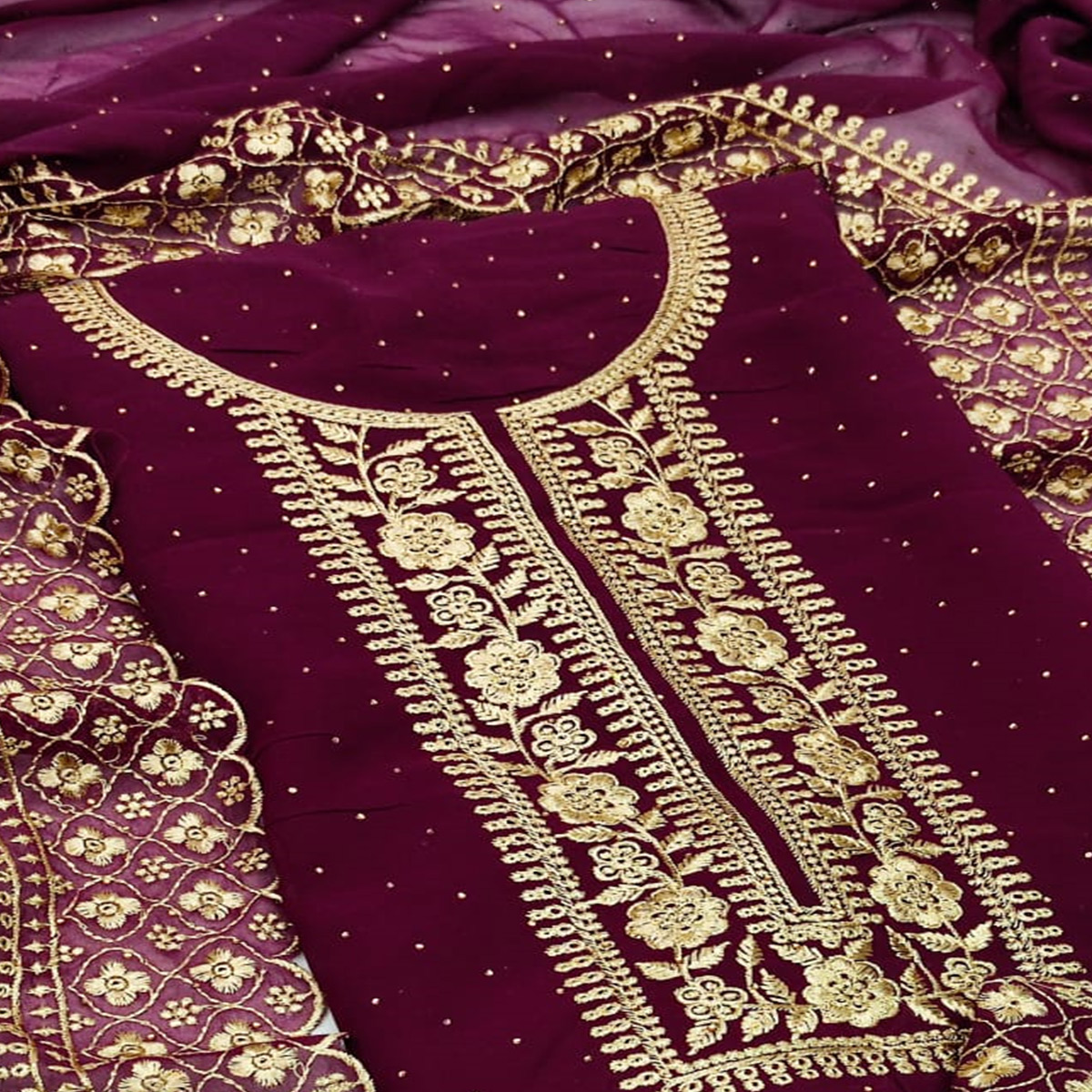 Wine Casual Wear Floral Embroidered With Diamond Georgette Dress Material