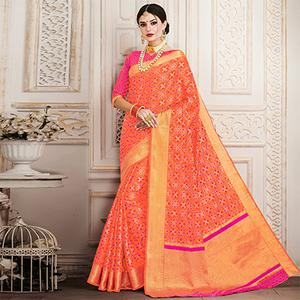 Dazzling Orange Colored Festive Wear Patola Silk Saree