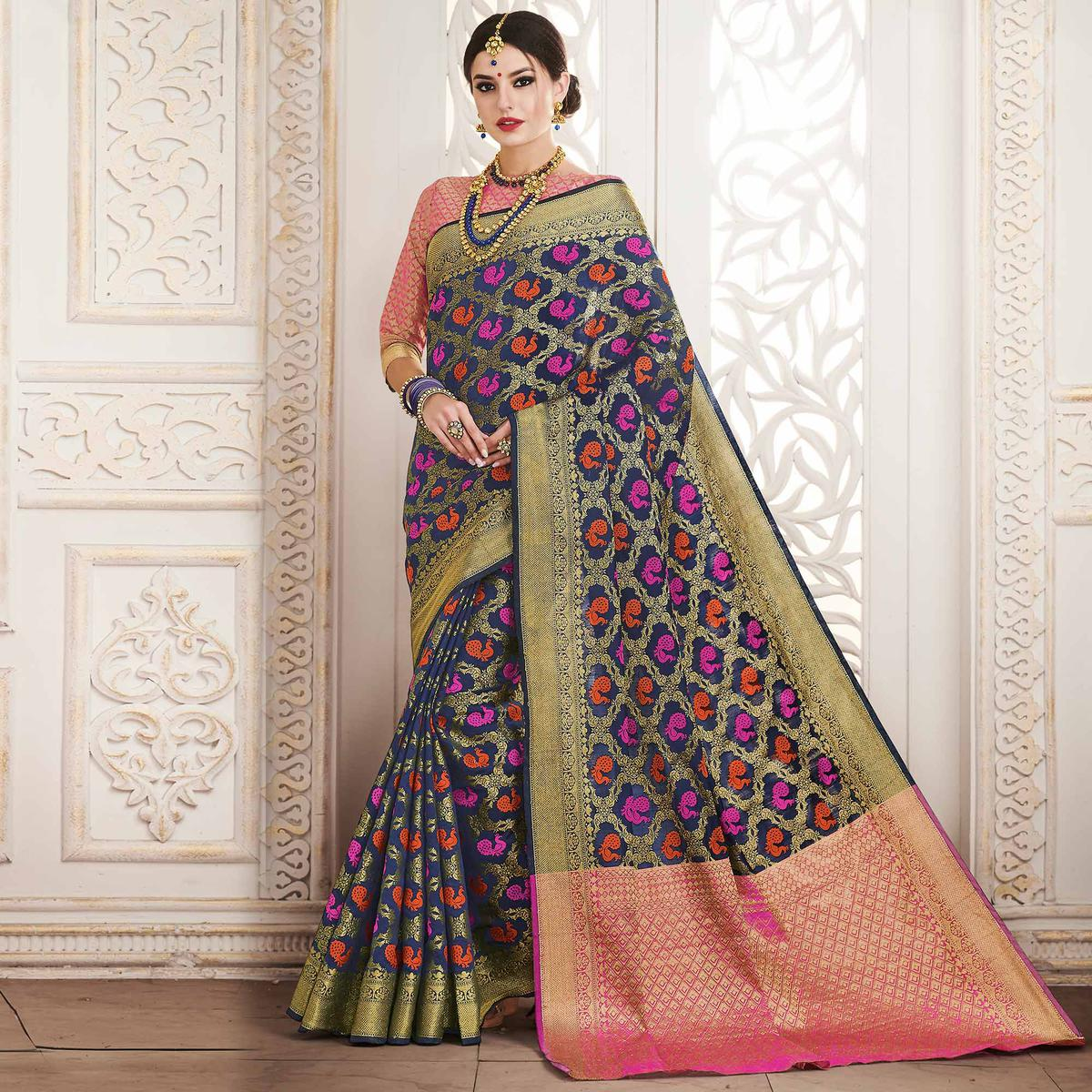 Adorning Navy Blue Colored Festive Wear Patola Silk Saree