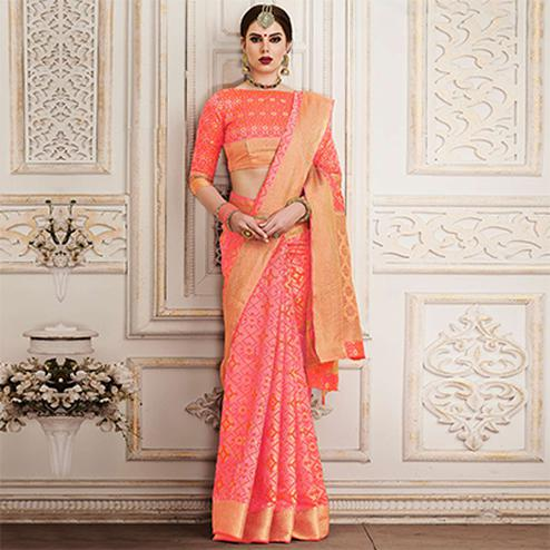 Cool Peach Colored Festive Wear Patola Silk Saree