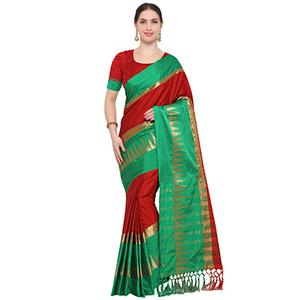 Red-Green Colored Festive Wear Cotton Blend Saree