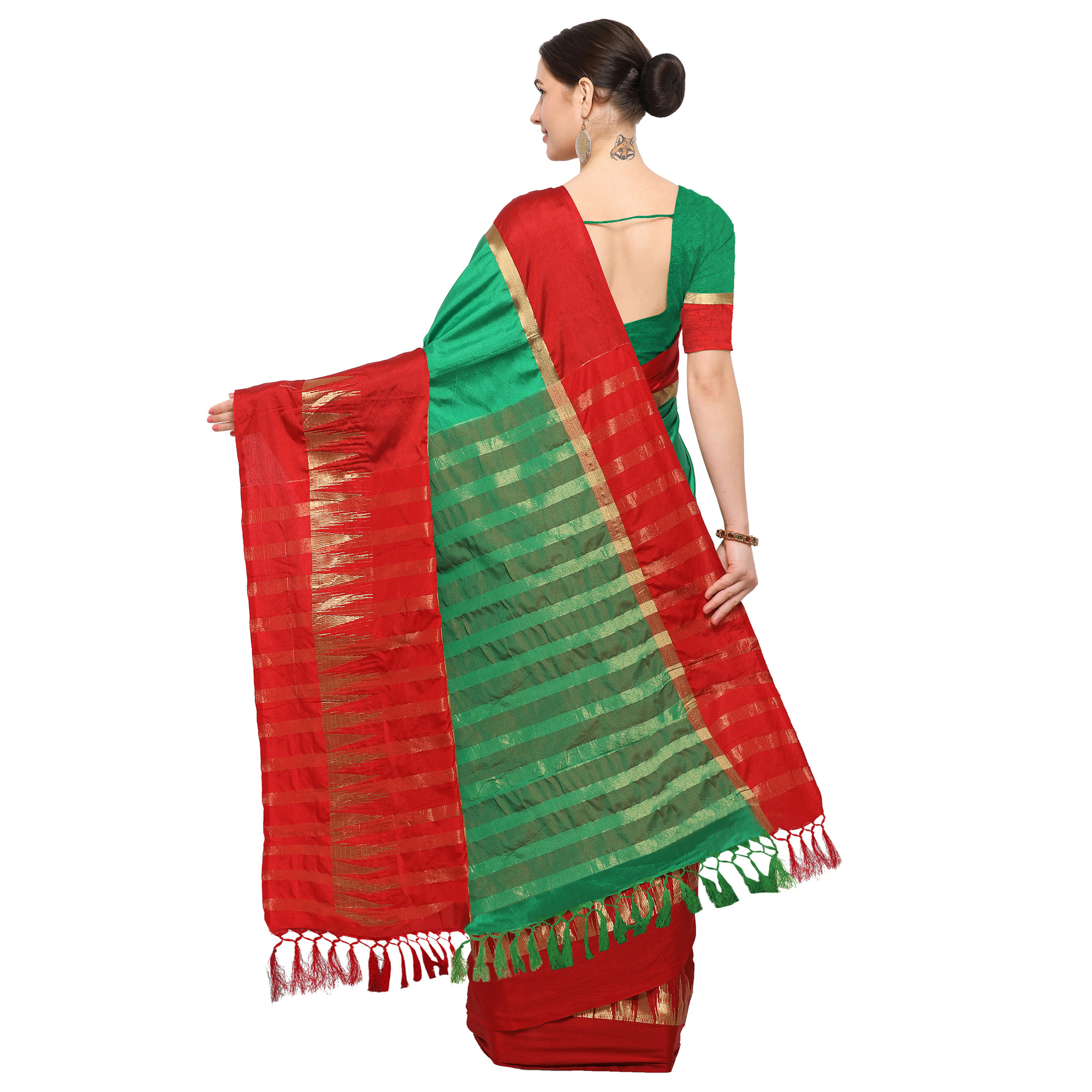 Green-Red Colored Festive Wear Cotton Blend Saree