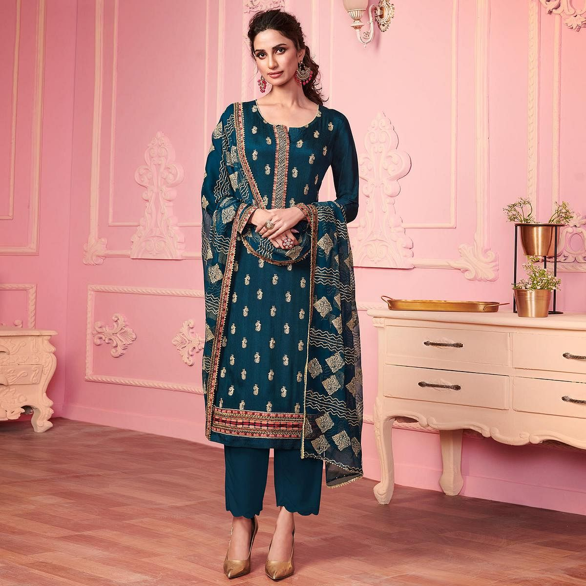 Retro Blue Partywear Thread Embroidered Alizeh Georgette Suit