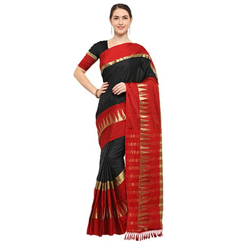 Black-Red Colored Festive Wear Cotton Blend Saree