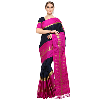 Navy Blue-Pink Colored Festive Wear Cotton Blend Saree