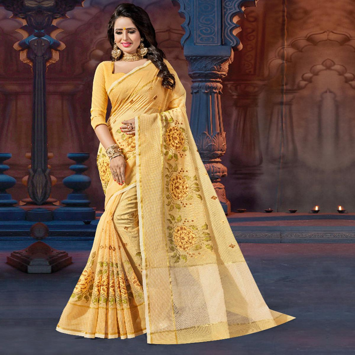 Yellow Casual Wear Embroidered Supernet Saree