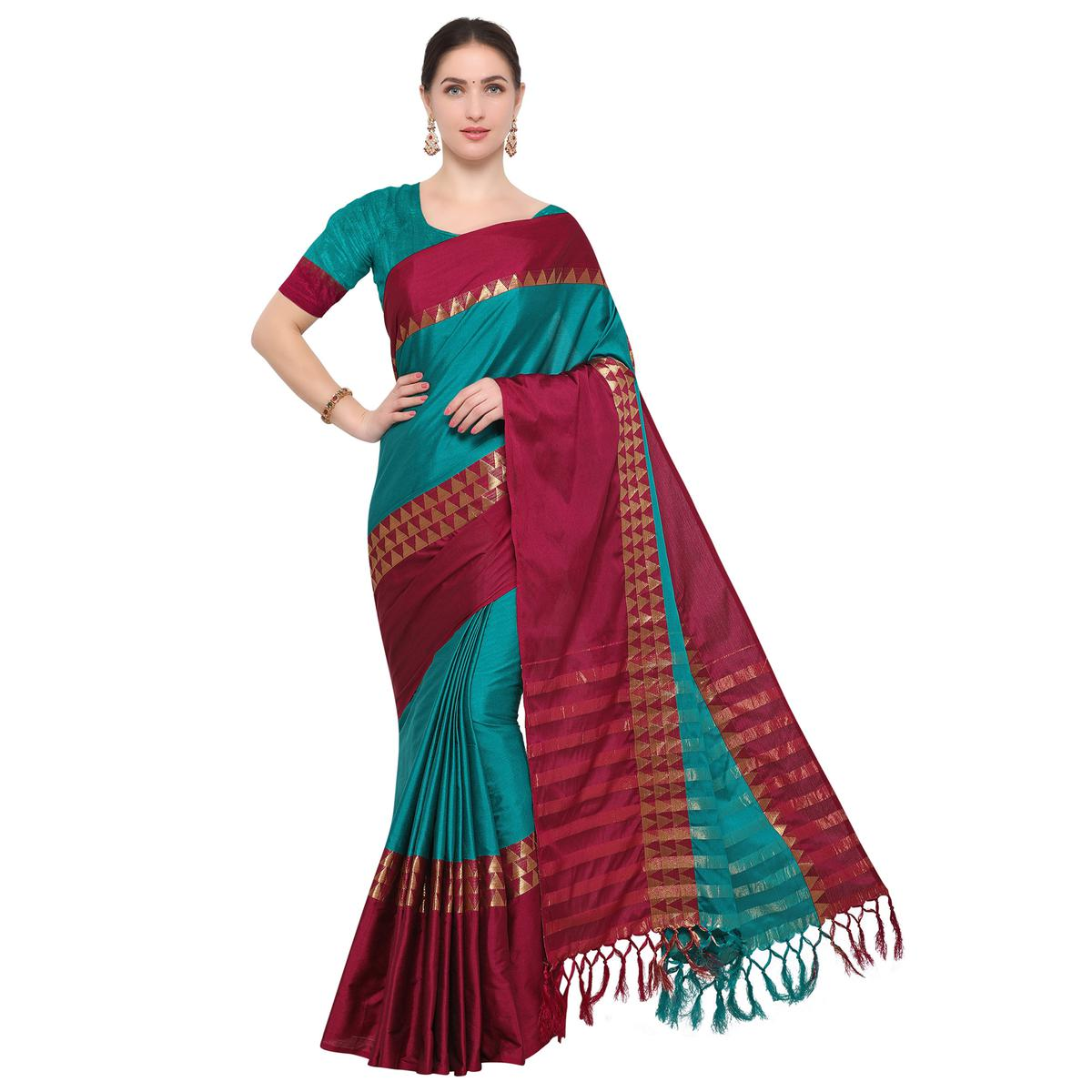 Turquoise Colored Festive Wear Cotton Blend Saree