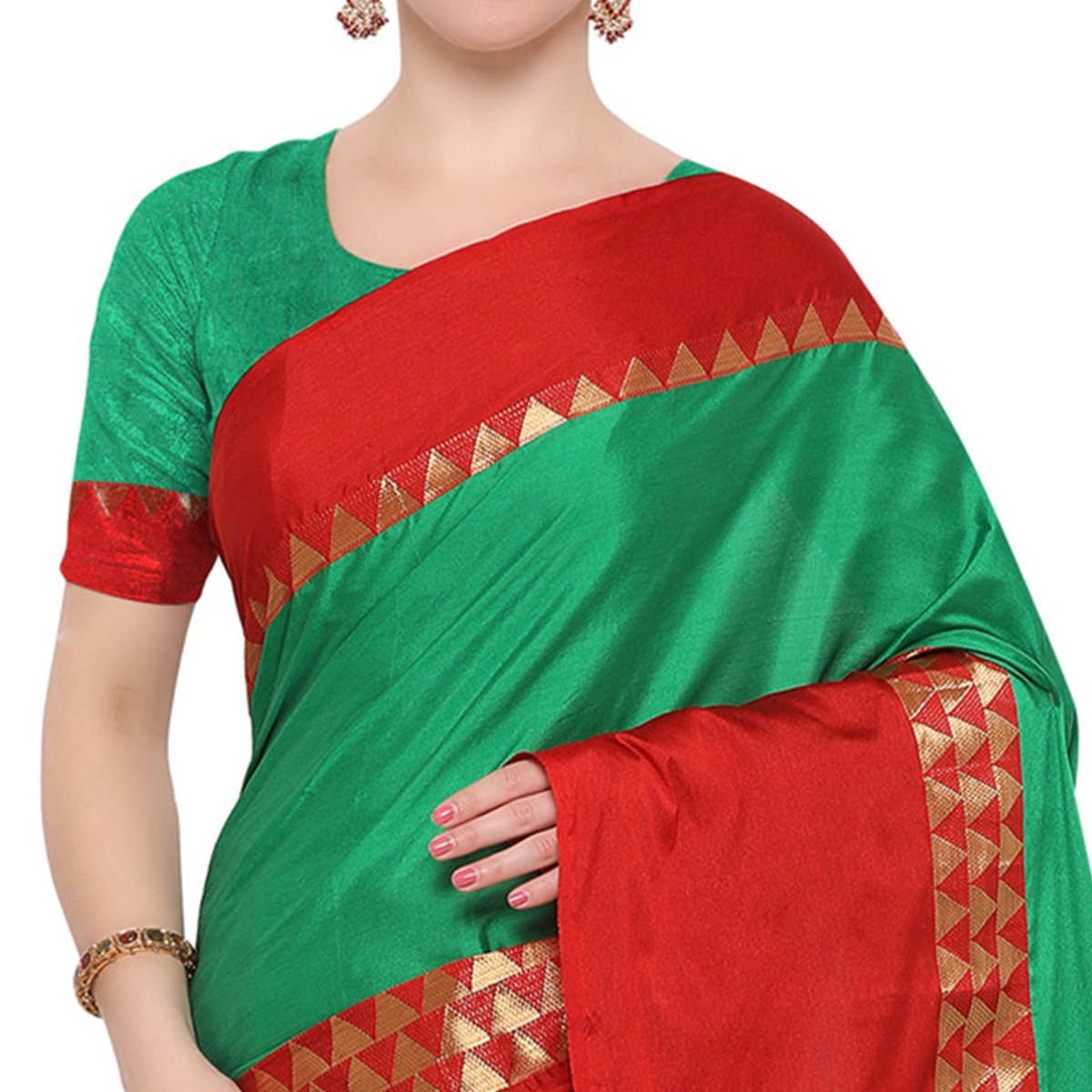 Green Colored Festive Wear Cotton Blend Saree